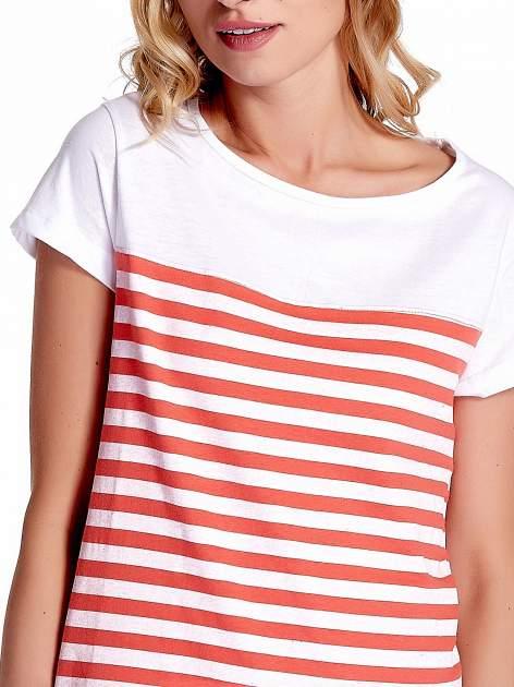 Biały t-shirt w poziome czerwone paski                                  zdj.                                  5