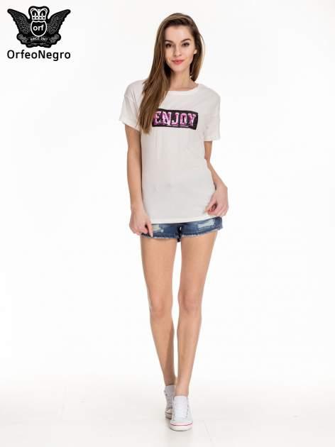 Biały t-shirt z aplikacją ENJOY z cekinów                                  zdj.                                  2
