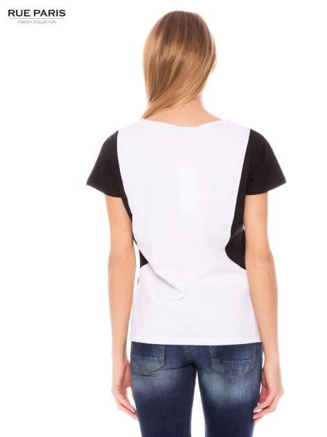 Biało-czarny bawełniany t-shirt damski                               zdj.                              3