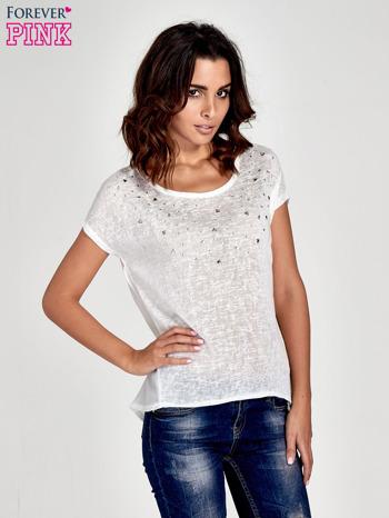 Biały t-shirt z kryształkami                                  zdj.                                  1