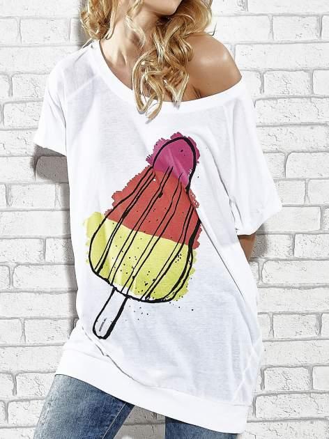 Biały t-shirt z lodowym nadrukiem Funk n Soul                                  zdj.                                  5