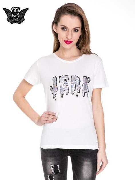 Biały t-shirt z metalicznym napisem JERK