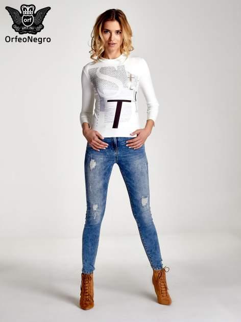 Biały t-shirt z nadrukiem                                  zdj.                                  7
