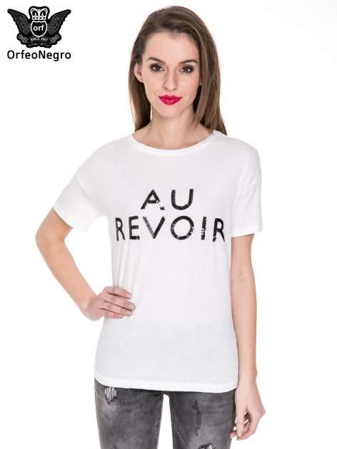 Biały t-shirt z nadrukiem AU REVOIR z cekinów                                  zdj.                                  1