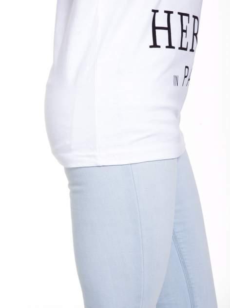 Biały t-shirt z nadrukiem HEROÉS IN PARIS                                  zdj.                                  8
