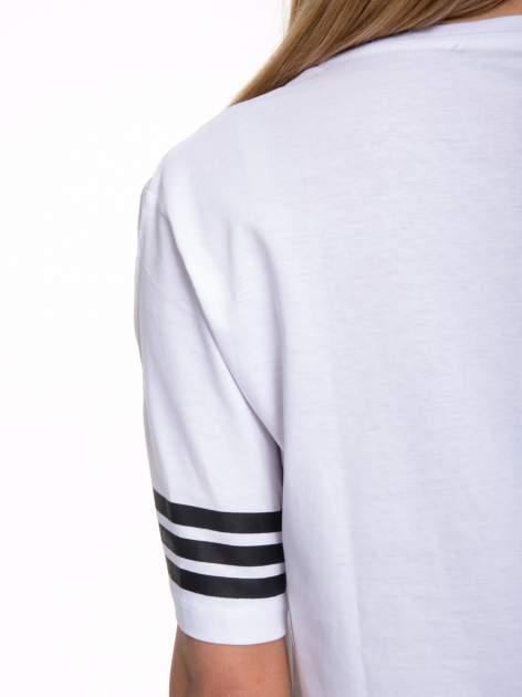 Biały t-shirt z nadrukiem LA w baseballowym stylu                                  zdj.                                  8