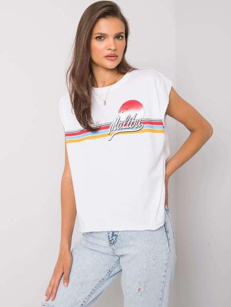 Biały t-shirt z nadrukiem Malibu