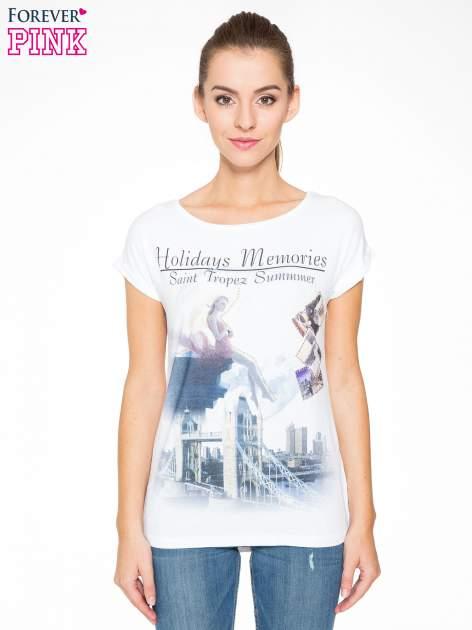Biały t-shirt z nadrukiem Saint Tropez                                  zdj.                                  1