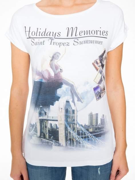 Biały t-shirt z nadrukiem Saint Tropez                                  zdj.                                  7