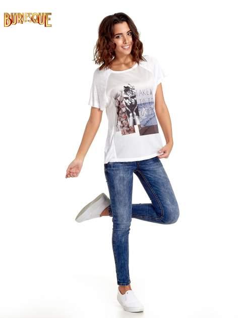 Biały t-shirt z nadrukiem TAKE ME TO THE OCEAN z dżetami                                  zdj.                                  7