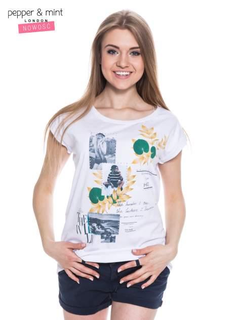 Biały t-shirt z nadrukiem i wydłużanym tyłem                                  zdj.                                  1