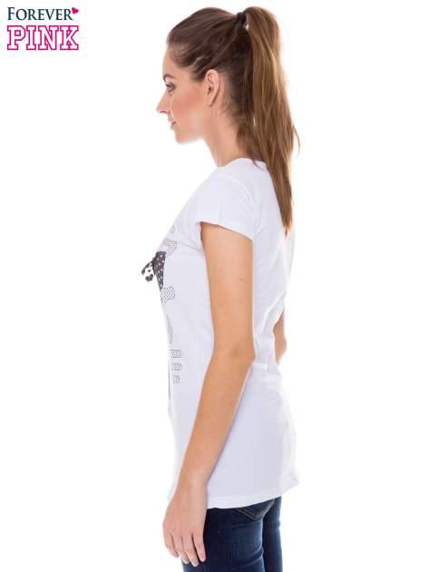 Biały t-shirt z nadrukiem kotki z kokardą                                  zdj.                                  2