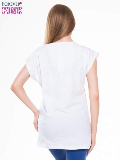 Biały t-shirt z nadrukiem kwiatów i napisem DREAM                                  zdj.                                  3