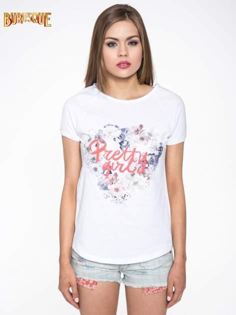 Biały t-shirt z nadrukiem kwiatowym PRETTY GIRL                                  zdj.                                  10