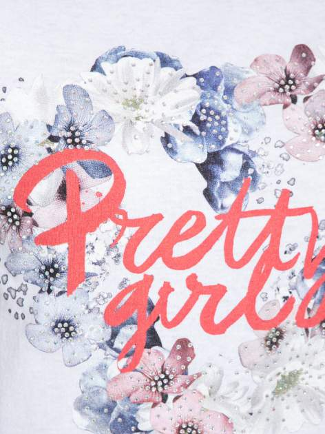 Biały t-shirt z nadrukiem kwiatowym PRETTY GIRL                                  zdj.                                  7