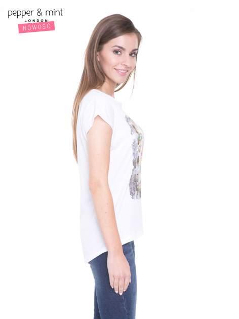 Biały t-shirt z nadrukiem kwiatowym i złotym napisem GRUNGE                                  zdj.                                  3