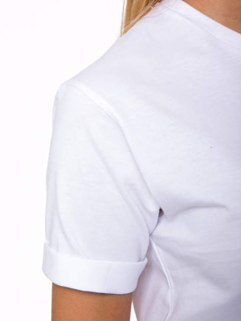 Biały t-shirt z nadrukiem numerycznym AZZEDINE 40 z tyłu                                  zdj.                                  7