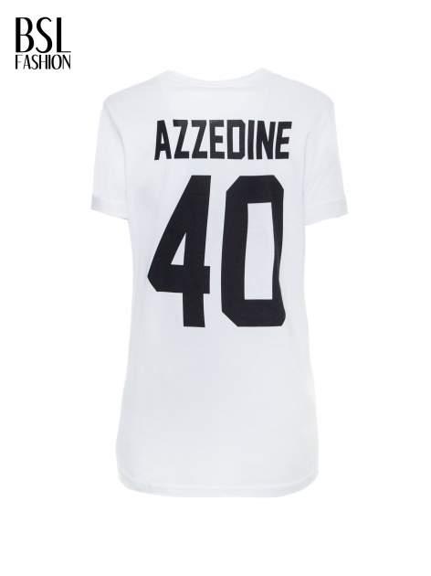 Biały t-shirt z nadrukiem numerycznym AZZEDINE 40 z tyłu                                  zdj.                                  3