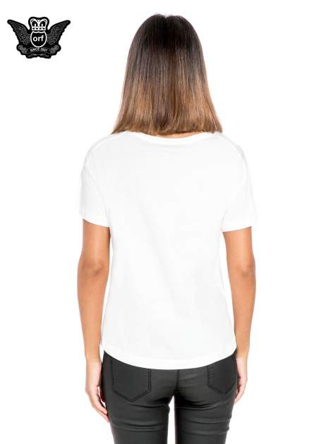 Biały t-shirt z nadrukiem so-so smile                                  zdj.                                  4