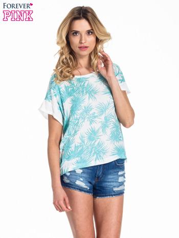 Biały t-shirt z nadrukiem w palmy                                  zdj.                                  1