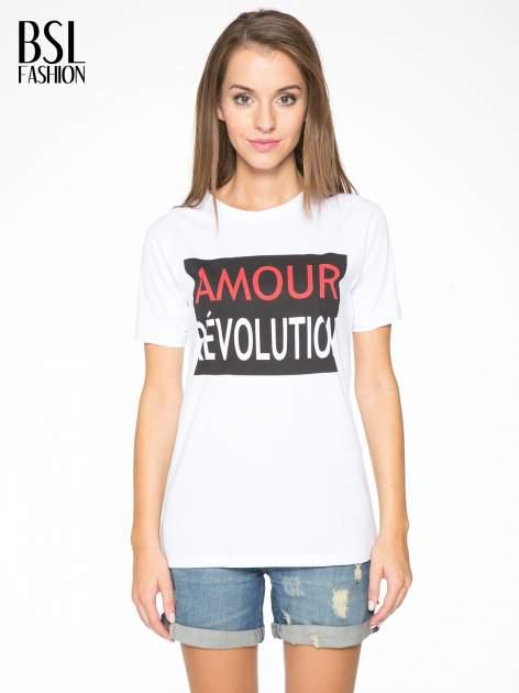Biały  t-shirt z napisem AMOUR RÉVOLUTION                                  zdj.                                  1