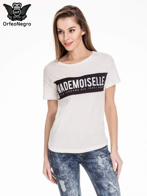 Biały t-shirt z napisem MADEMOISELLE