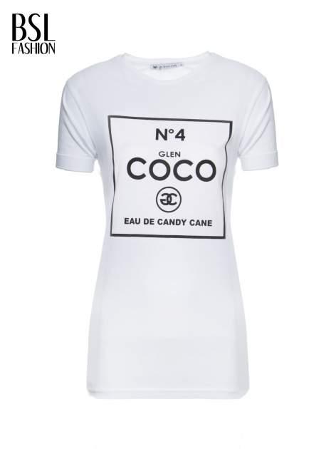 Biały t-shirt z napisem Nº4 COCO                                  zdj.                                  2