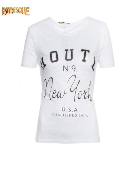 Biały t-shirt z napisem ROUTE NEW YORK                                  zdj.                                  1