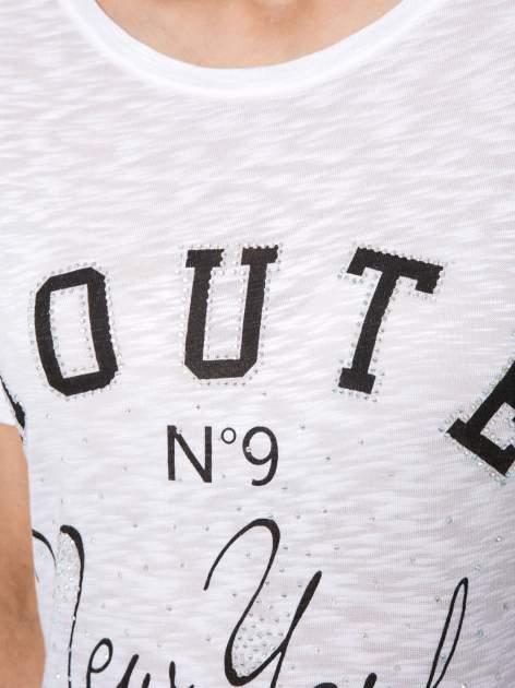Biały t-shirt z napisem ROUTE NEW YORK                                  zdj.                                  8