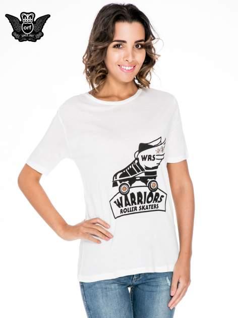 Biały t-shirt z napisem WARRIORS ROLLER SKATERS