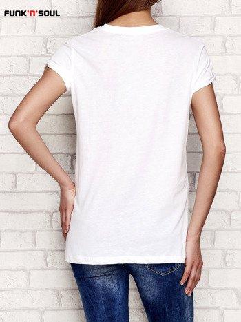 Biały t-shirt z napisem WHY NOT FUNK N SOUL