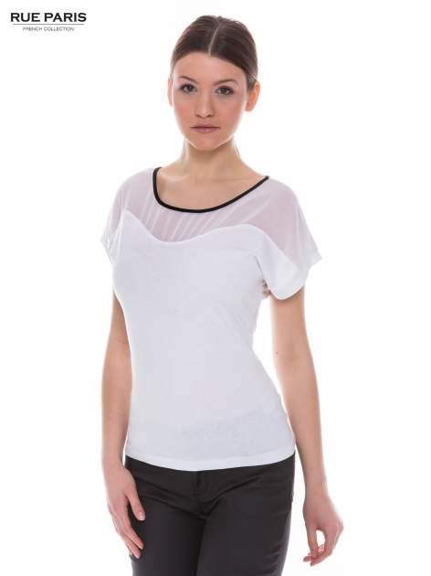 Biały t-shirt z siateczkową górą i kontrastową lamówką                                  zdj.                                  1
