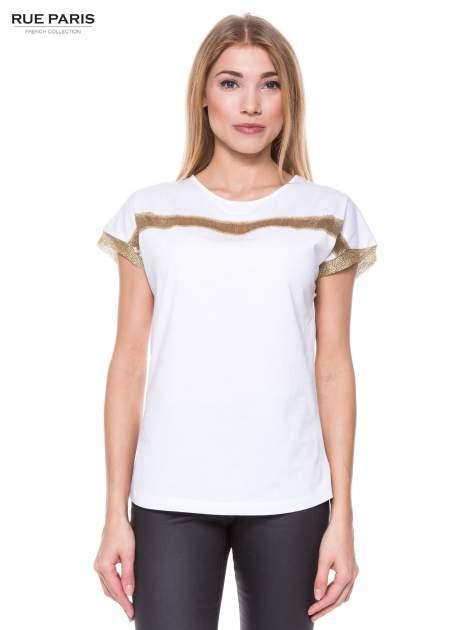 Biały t-shirt ze złotą aplikacją                                  zdj.                                  1