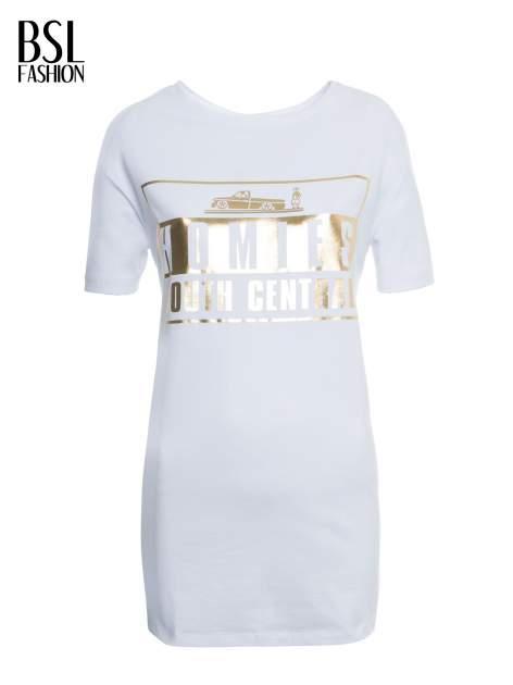 Biały t-shirt ze złotym nadrukiem HOMIES SOUTH CENTRAL                                  zdj.                                  2