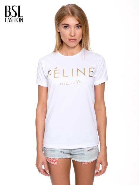 Biały t-shirt ze złotym napisem FÉLINE MEOW                                  zdj.                                  1