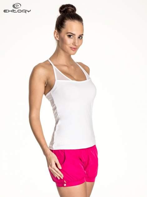 Biały top sportowy z siateczką i ramiączkami w kształcie litery T na plecach                                  zdj.                                  3