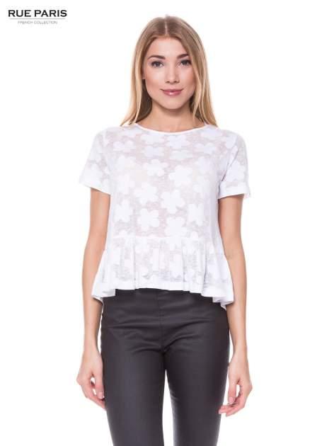 Biały transparentny t-shirt w kwiaty z baskinką                                  zdj.                                  1