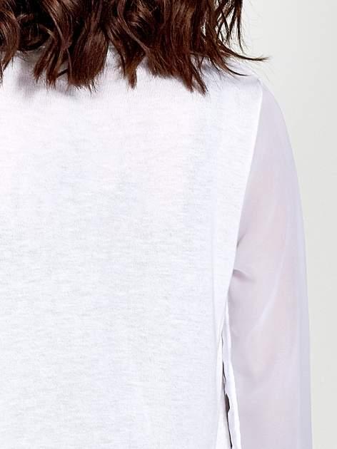 Biały wiązany sweter z przezroczystymi rękawami                                  zdj.                                  8