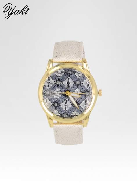 Biały zegarek damski ze złotą kopertą i etno tarczą