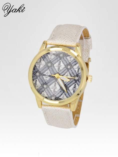 Biały zegarek damski ze złotą kopertą i etno tarczą                                  zdj.                                  2
