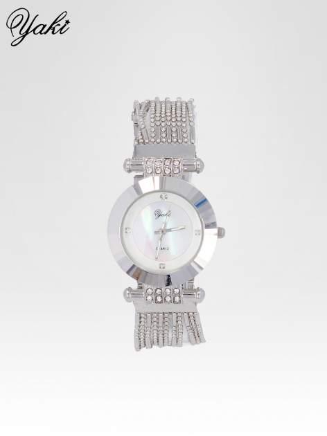 Biżuteryjny srebrny zegarek damski z białą tarczą                                  zdj.                                  1