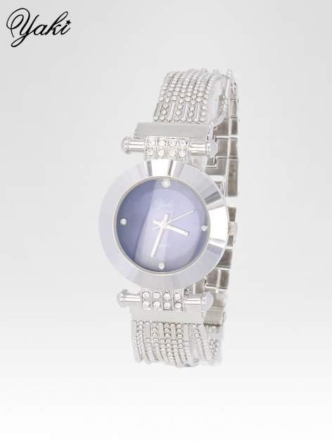 Biżuteryjny srebrny zegarek damski z granatową tarczą                                  zdj.                                  2