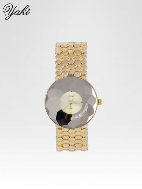Biżuteryjny złoty zegarek damski z tarczą z cyrkoniami                                  zdj.                                  1
