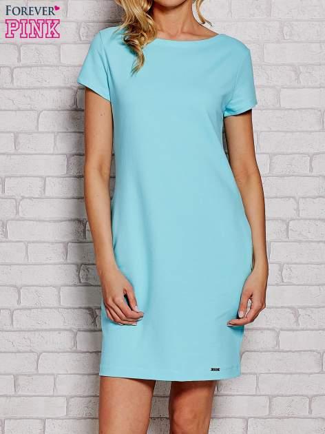 Błękitna sukienka dresowa z kieszeniami                                  zdj.                                  1