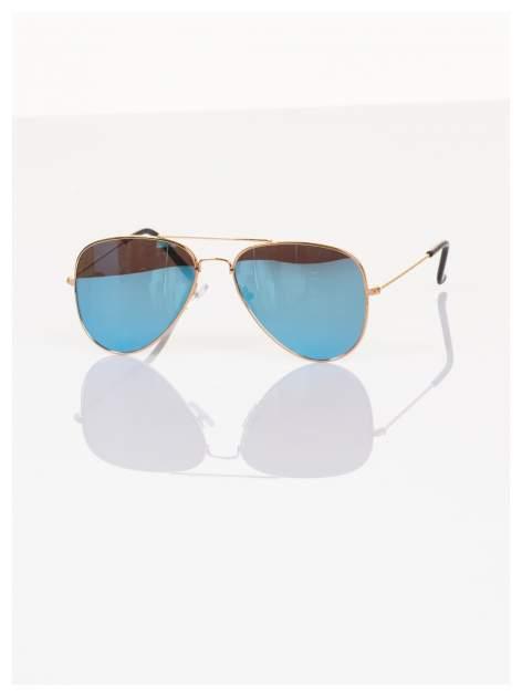 Błękitne okulary przeciwsłoneczne pilotki AVIATORY lustrzanki                                   zdj.                                  2