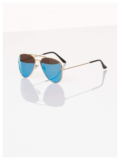 Błękitne okulary przeciwsłoneczne pilotki AVIATORY lustrzanki                                   zdj.                                  1