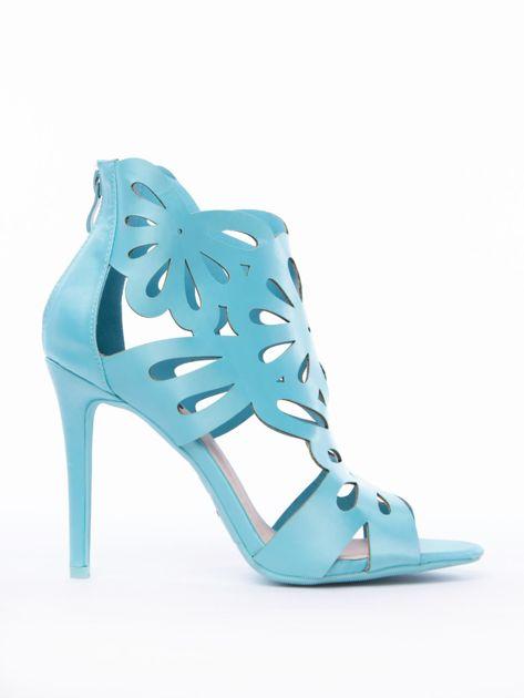 Błękitne sandały z ażurową cholewką z satyny                              zdj.                              1