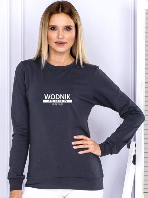 Damska bluza ze znakiem zodiaku WODNIK grafitowa                                  zdj.                                  1