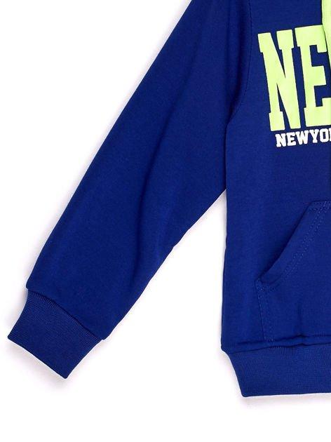 Bluza chłopięca z kapturem i napisem NEW YORK niebieska