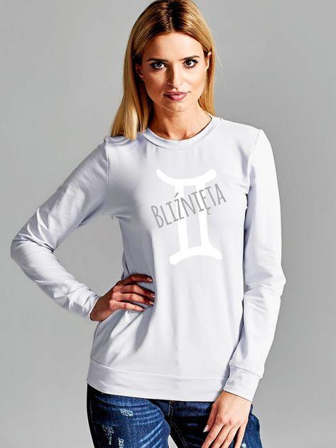 Bluza damska z motywem znaku zodiaku BLIŹNIĘTA jasnoszara                              zdj.                              1